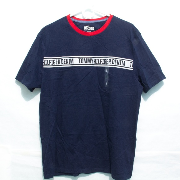 4c44aee4e5d7 NEW Tommy Hilfiger Denim Flag Spell Out Navy Shirt